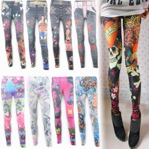 Free-shipping-high-quality-pants-faux-denim-legging-personalized-print-multicolour-hot-sale-women-s-shiny