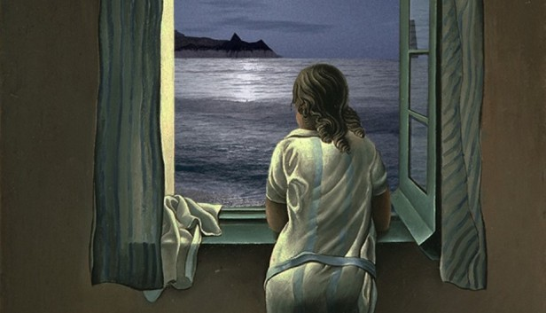 அ Girl-Looking-Out-Window-at-Moon-Painting-55445